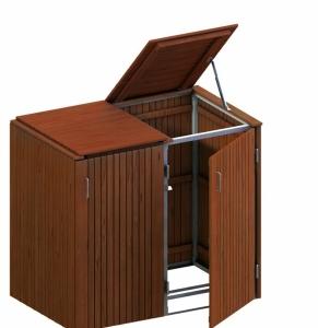 BINTO Mülltonnenbox Premium Hartholz System 2K
