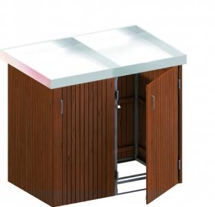BINTO Mülltonnenbox Premium Hartholz System 2P