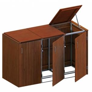 BINTO Mülltonnenbox Premium Hartholz System 3K