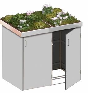 BINTO Mülltonnenbox - HPL lichtgrau System 2P