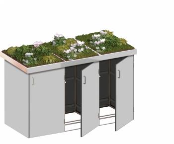 BINTO Mülltonnenbox - HPL lichtgrau System 3P