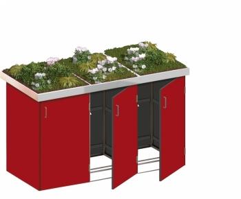 BINTO Mülltonnenbox - HPL rot System 3P