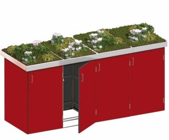 BINTO Mülltonnenbox - HPL rot System 4P