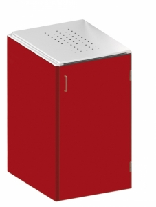BINTO Mülltonnenbox - HPL Rot - Edelstahl System E1K