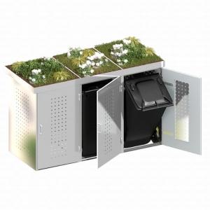 BINTO Mülltonnenbox Edelstahl System 3P