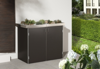 BINTO Mülltonnenbox - HPL Schiefer-System 2P