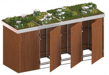 BINTO Mülltonnenbox Premium Hartholz System 4P