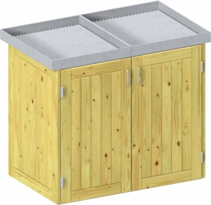 BINTO Holz Mülltonnenbox System 4