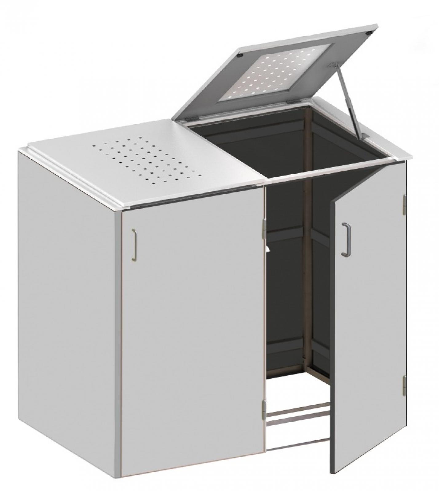 binto mülltonnenbox - hpl lichtgrau-edelstahl 2k