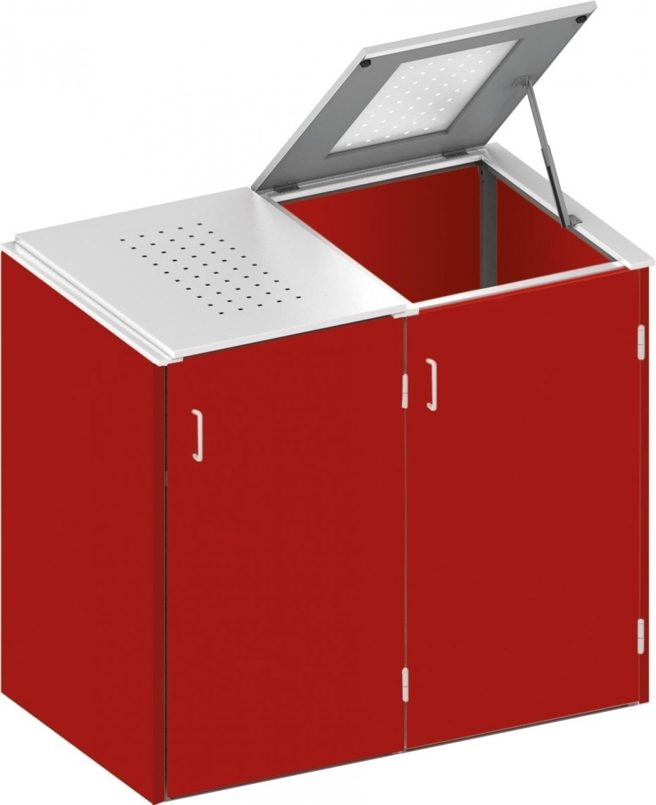 binto mülltonnenbox hpl rot - edelstahl system e2k