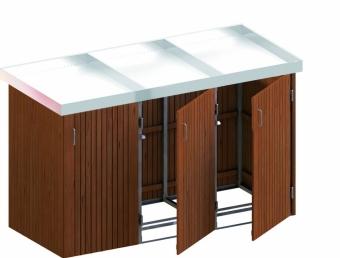 BINTO Mülltonnenbox Premium Hartholz System 3P