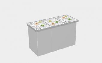 BINTO lichtgrau017 Set4 mit Pflanzschale - Mülltonnenbox - Mülltonnenhaus