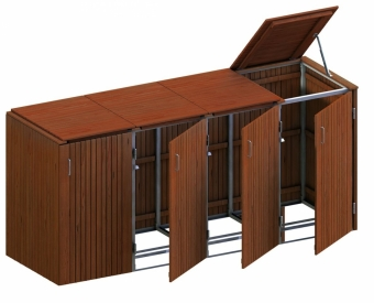 BINTO Mülltonnenbox Premium Hartholz System 4K