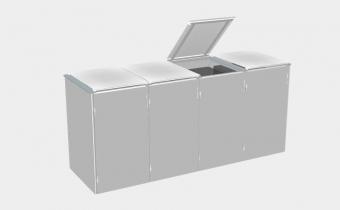 BINTO lichtgrau017 Set1 - 4er Mülltonnenbox - Mülltonnenhaus