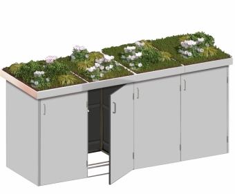 BINTO Mülltonnenbox - HPL lichtgrau System 4P