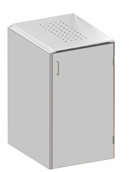 BINTO Mülltonnenbox - HPL Lichtgrau-Edelstahl System E1K