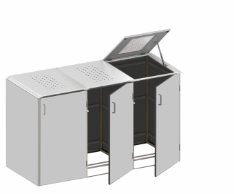 BINTO Mülltonnenbox - HPL Lichtgrau-Edelstahl System E3K