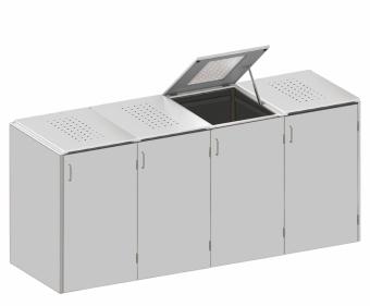 BINTO Mülltonnenbox - HPL Lichtgrau-Edelstahl System E4K