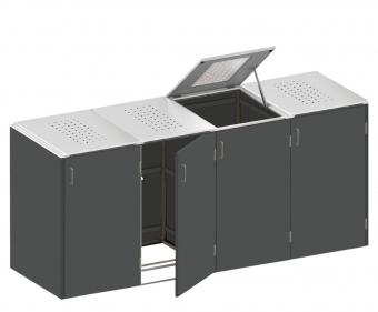 BINTO Mülltonnenbox - HPL Schiefer-Edelstahl System E4K