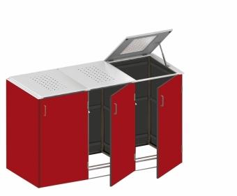 BINTO Mülltonnenbox - HPL Rot - Edelstahl System E3K