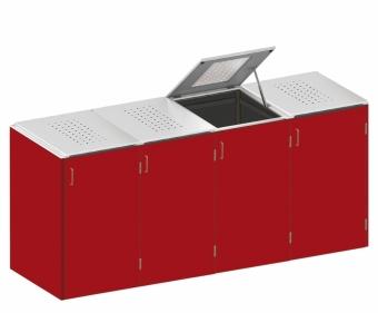 BINTO Mülltonnenbox - HPL Rot - Edelstahl System E4K