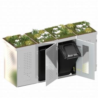 BINTO Mülltonnenbox Edelstahl System 4P