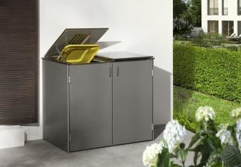 BINTO Mülltonnenbox - HPL Lichtgrau-Edelstahl System E2K