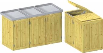 BINTO Holz Mülltonnenbox System 3P2K