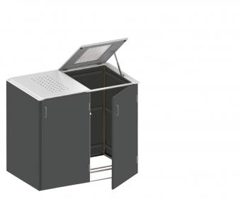 BINTO Mülltonnenbox - HPL Schiefer-Edelstahl System E2K
