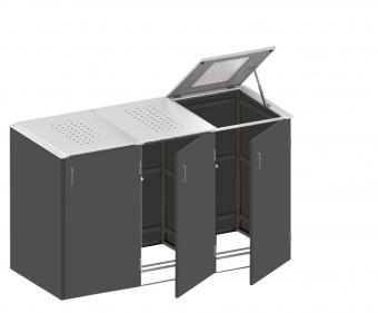 BINTO Mülltonnenbox - HPL Schiefer-Edelstahl System E3K